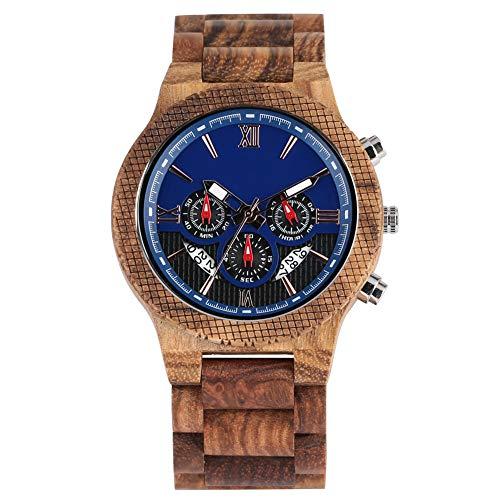 IOMLOP Reloj de Madera Correa de Madera Hecha a Mano Relojes de Madera Reloj para Hombre Reloj con Esfera Azul Grande Reloj de Pulsera de Cuarzo con Caja marrón práctica Regalos, Solo Reloj