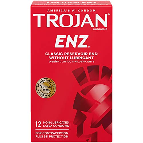 Trojan ENZ Natural Latex Non-Lubricated Condoms - 12 Count