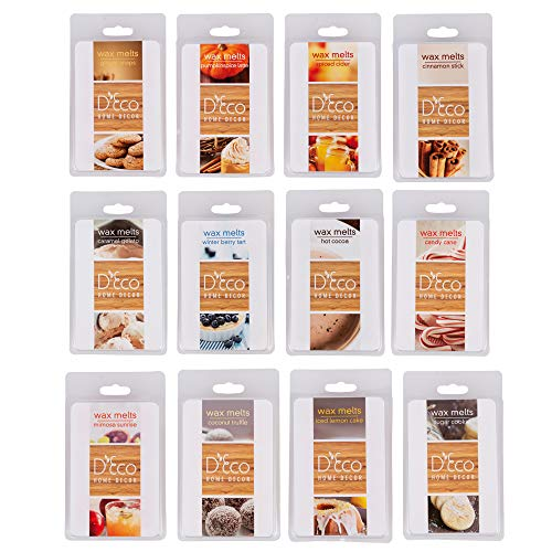 Fall and Winter Scented Wax Melts- 12 Different Holiday Scents (2.5oz ea Tart Cube) - Mimosa Sunrise, Coconut, Lemon, Sugar Cookie, Caramel, Ginger, Candy Cane, Hot Cocoa,Cider,Cinnamon,Pumpkin,Berry