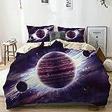 Juego de funda nórdica beige, planetas temáticos del espacio exterior Saturno, Marte, Neptuno, ciencia ficción, escena solar, juego de cama decorativo de 3 piezas con 2 fundas de almohada, fácil cuida