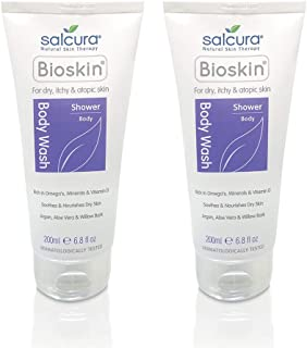 Salcura Natural Skin Therapy, Bioskin Body Wash Duo Pack, Gently Cleanses Dry, Itchy & Sensitive Skin, Keeps The Skin Hydrated In The Shower, No-Nasties Duo Pack 2 x 200ml