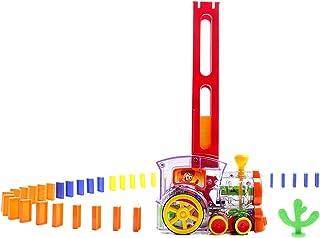 Homyl Domino Train Toy Set (60pcs) with Light & Sound, Kids Domino Racing Toy