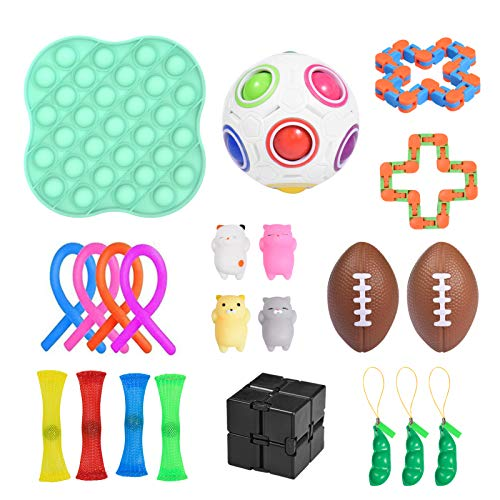 Yourenyuan 22pcs Sensory Toys Set for Autism, Fidget Toys for Kids and Adults, Pop Bubble Fidget Sensory Toy, Squeeze Beans, Flippy Chain, Assortment for Birthday Party Favors