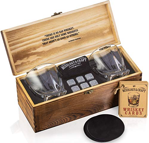 Whiskey Stones Gift Set for Men | Whiskey Glass and Stones Set with Wooden Box, 6 Granite Whiskey Rocks Chilling Stones and 10oz Whiskey Glasses | Whiskey Lovers Gifts For Men, Dad, Husband, Boyfriend