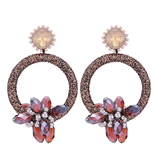 Crystal Stone Handmade Round Drop Earrings For Women Copper Beads Round Statements Earrings Old Red