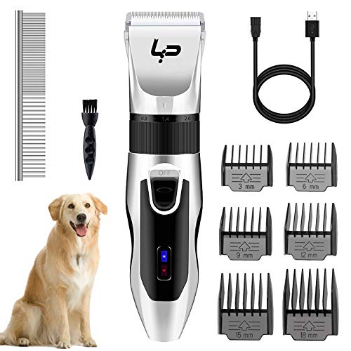 YA Dog Clippers, Cordless Dog Grooming Clippers Low Noise, Rechargeable Pet...