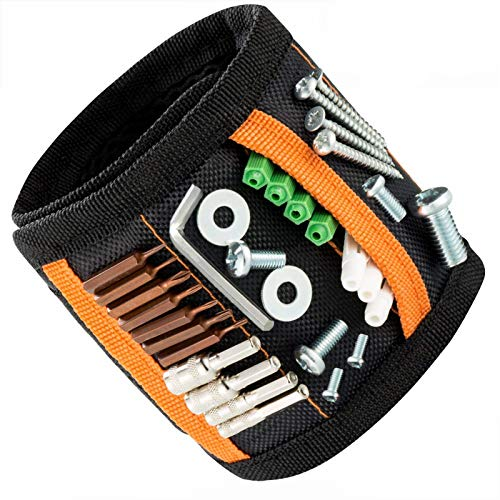 JIANYI Magnetic Wristband with 15 Strong Magnets for Holding Screws, Nails, Drill Bits, Bolts, Tools - Best Unique Gift for Men, DIY Handyman, Father/Dad, Husband, Boyfriend, Him, Women …