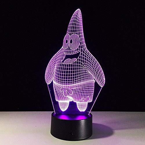 Lámpara de escritorio de 7 colores Lámpara 3D Novedad Luz de noche Led Bob Esponja Pantalones cuadrados Lámpara de visión estéreo Led