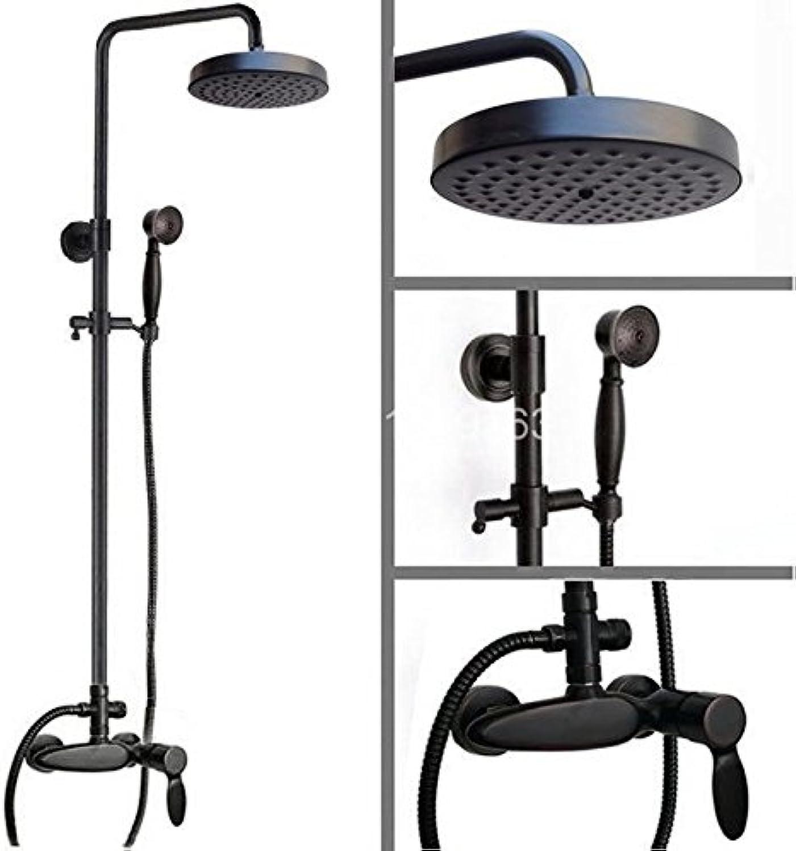 Luxurious shower Messing schwarz l eingerieben Antik Bronze Regendusche Mischbatterie Wasserhahn Handheld Duschkopf an der Wand montierte Ars 438, schwarz