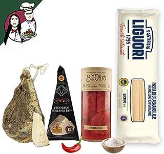 Box Completa Amatriciana per 4/5 persone, Pasta Artigianale + Guanciale al Pepe Stagionato + Pecorino Romano DOP + Pomodor...