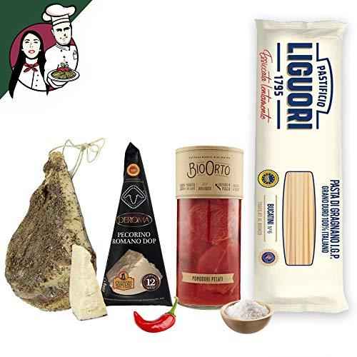 Box Completa Amatriciana per 4/5 persone, Pasta Artigianale + Guanciale al Pepe Stagionato + Pecorino Romano DOP + Pomodori Pelati BIO + Sale e Peperoncino + Tagliere in omaggio