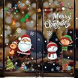 Tuopuda - Adhesivos decorativos para ventana, diseño de Papá Noel, muñeco de nieve, reno, niños, autoadhesivos electrostáticos, 20 x 28 cm, 5 hojas