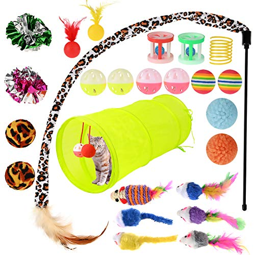 GOLDGE Cat Toys, Kitten Toys Cat Interactive Toys for Indoor, Includes Cats Tunnel, Catnip, Balls, Mouse, Feathers Wand Toys Set Gift for Kitty and Cat