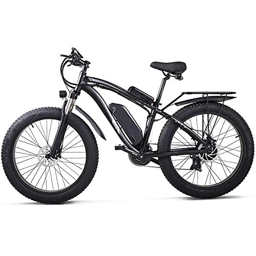 showyow Bicicleta de montaña Electric1000w, Bicicleta de Nieve 48v17ah Bicicleta eléctrica 4.0 Bicicleta de neumático Grueso, Adecuada para entornos urbanos y desplazamientos hacia y Desde el Trabajo