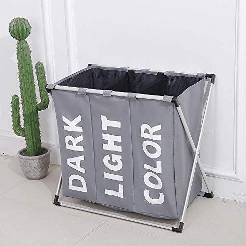 WFH Erweiterte Wäschekorb, Wäschekorb Wäschekorb Faltbare Dreiteilig Abfallbehälter Mit Aluminiumrahmen Aufbewahrungstasche Für Dirty Laundry Room Speicherraum Faster Wäsche-Zeit,Grau,66 * 37 * 58Cm