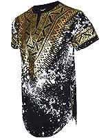 SCREENSHOTBRAND-730 Mens Hipster Hip-Hop Premium Tees - Stylish Longline Side Zipper Fashion T-Shirt Dashiki Gold Print - Black - Small