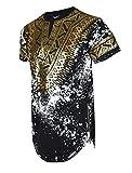 SCREENSHOTBRAND-730 Mens Hipster Hip-Hop Premium Tees - Stylish Longline Side Zipper Fashion T-Shirt Dashiki Gold Print - Black - Large