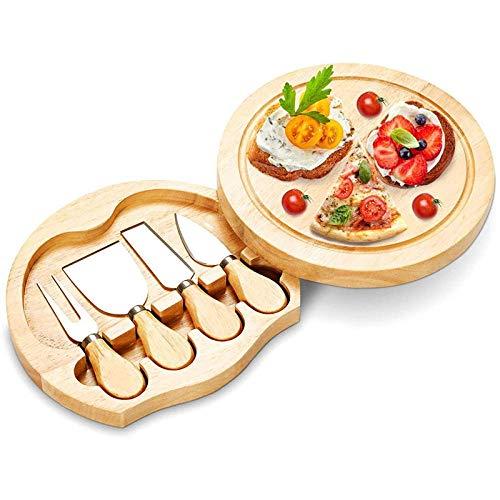 Tabla De Cortar De Madera Plato De Corte De Pizza De Queso De Tabla De Queso De Madera De Caucho Con Cuatro Cuchillos De Queso Tabla De Queso De Bambú