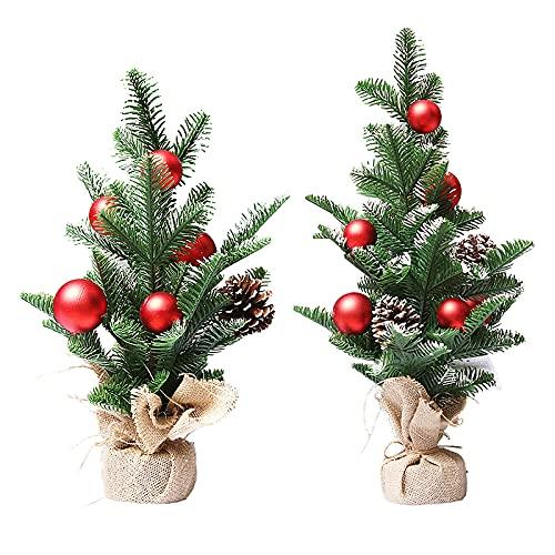 RSTYS - Mini alberi di Natale, 2 pezzi, in miniatura di sisal, neve, gelo, abete, paesaggio, paesaggio, per Natale, fai da te, decorazioni per feste