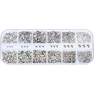 3456 Pieces Flatback Nail Rhinestones Gems Set Transparent Rhinestones and Crystal AB Rhinestone for Nail Art and Phone Case DIY, 6 Sizes:Carsblog