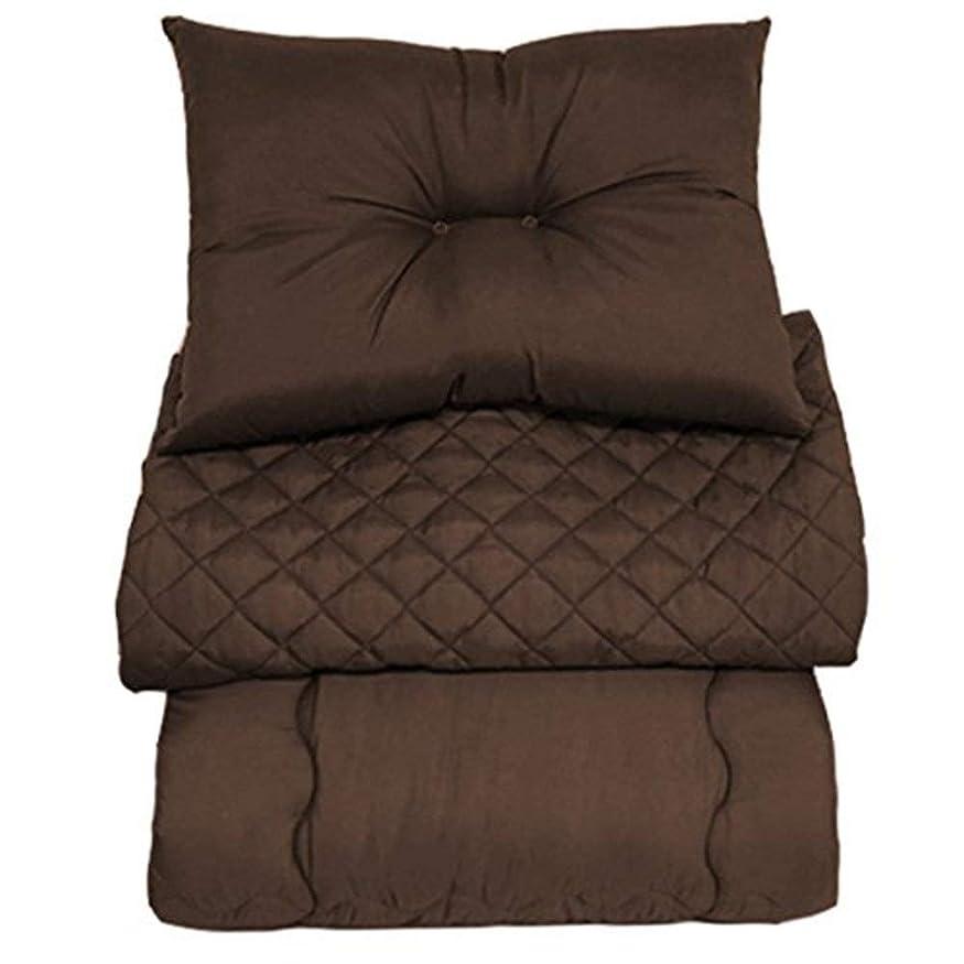 難民懲らしめ富EiYU ベッド用布団3点セット 洋式 掛け布団 枕 ベッドパッド ブラウン シングル