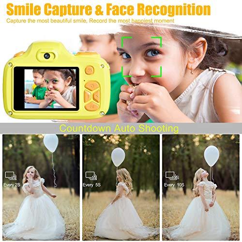Kriogor Kamera Kinder, Digital Fotokamera Selfie und Videokamera mit 2 Zoll LCD/ 12 Megapixel/ Dual Lens/ 1080P HD/ 256M TF Karte, Geburtstagsgeschenk für Kinder (Gelb)