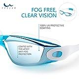 Schwimmbrillen für Erwachsene Kinder - Anti Nebel UV, Schutz kein Leck, Spiegel/Clear Lens, Ohrstöpsel & Nasenklammern mitgeliefert, für Männer Frauen Mädchen Jungen,hellblau - 2