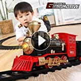 Temi Train Sets w/ Steam Locomotive Engine, Cargo Car and Tracks, Battery Operated Play Set Toy w/...