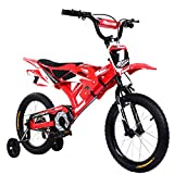 Yulie Enfants Vélo Moto Vélo de Montagne 16 Pouces avec Freins V-Brake pour Enfant 2-8 Ans (16' Rouge, Rouge 2)