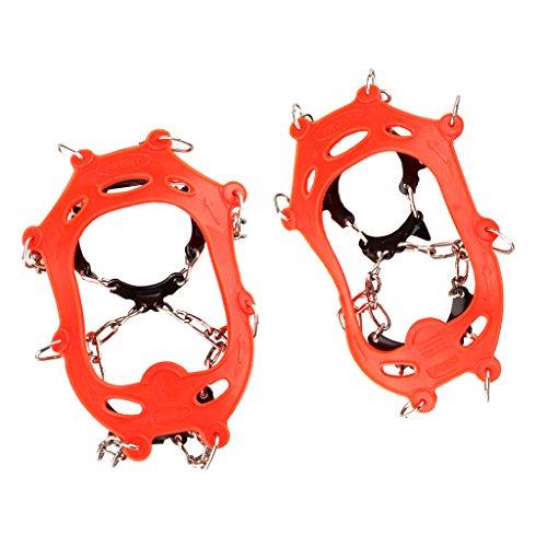 Spikes für Schuhe, Schuhkrallen mit 11 Zähnen Steigeisen für Bodenhaftung auf EIS und Schnee beim Wandern Klettern geeignet für Kinder Jugendliche - Orange EU 22-29