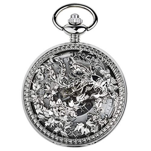 WXMYOZR Reloj De Bolsillo Antiguo Vintage Reloj De Bolsillo para Mujer Reloj Mecánico con Números Romanos con Caja Hueca De Cadena, Lucky Phoenix,Plata