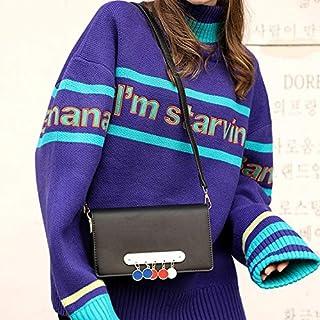 YKDY Shoulder Bag Tassel Organ PU Leather Single Shoulder Crossbody Bag Ladies Handbag (Black) (Color : Black)
