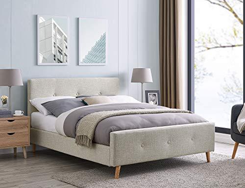 Mobilier Deco Skandinavisches Bett aus Stoff, Beige, mit Lattenrost, 160 x 200 cm