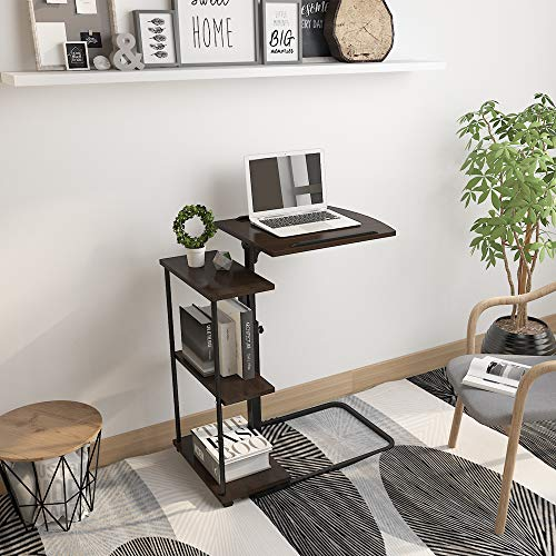 HomeSailing Mobile Side Table Adjustable Rolling Cart for Laptop with Wheels Over Bed Sofa Couch Beside Computer Workstation Desk with Storage Tray for Medical Hospital Small Space (Black Walnut)