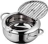 Padella per friggitrice ad aria, Friggitrice con termometro,Utensili da cucina da cucina, con termometro/coperchio pentola, utilizzati per il ristorante della cucina domestica,24cm#304