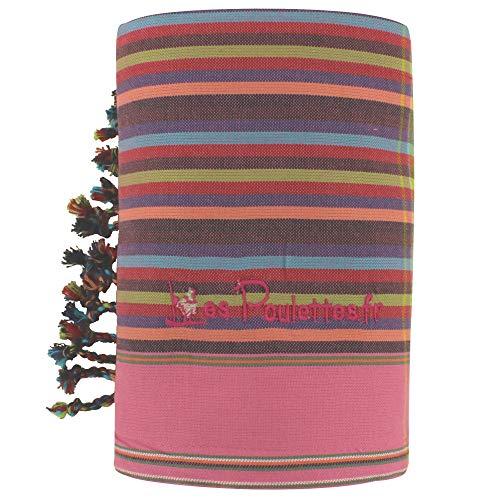 LES POULETTES Kikoy Strandtuch aus Baumwolle Streifen - Farbe Lila Fuchsie