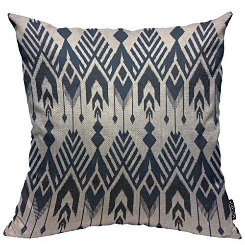 Mugod Navy Blue Aztec Throw Pillow Cover Ikat Seamless Pattern Design for Fabric Home Decorative Square Pillow Case for Men Women Kids Bedroom Livingroom Cushion Cover 18