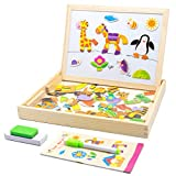 Wooden Magnetic Puzzle Games Jigsaw Animal Pattern Drawing Easel Blackboard Educational Wood Toys for Boys Girls Kids Toddler 3+ Year Olds