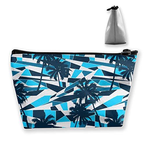 Tragbare Kosmetiktasche, abstraktes Surf-Muster mit Palmen-Muster, multifunktionaler Druck,...