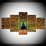 DGGDVP 5 Unids/Set Pinturas Modulares de Lona Grandes Pavo Real Impresión de la Lona Imagen de Arte de Pared Pinturas de Pared Modernas Decoración del Hogar Superior Tamaño 1 Sin Marco