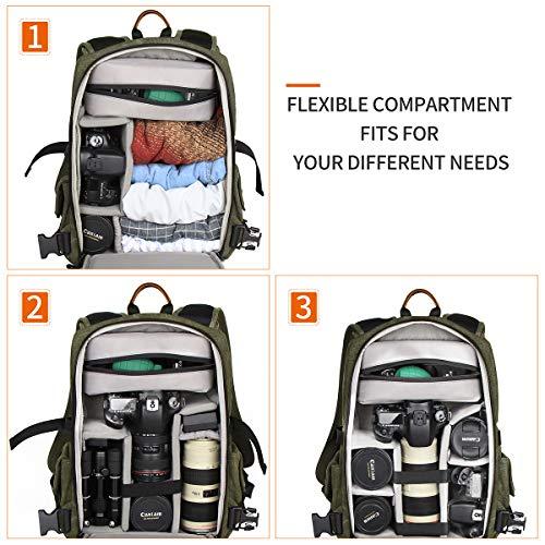Fotorucksack, Zecti Waterproof Segeltuch Professional Kamerarucksack DSLR-Kamera-Reisetasche mit Regenschutz für Canon Nikon DSLR-Kamera, Objektiv und Zubehör