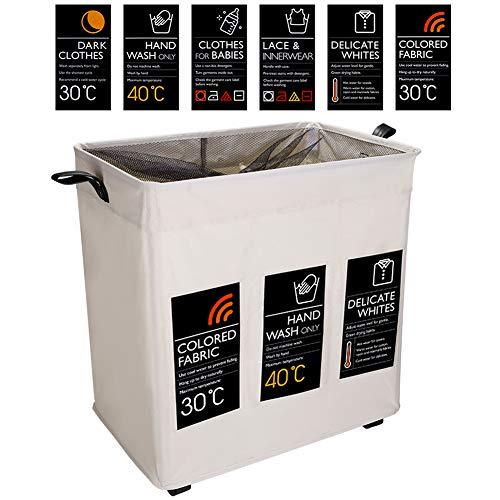 IHOMAGIC Wäschekorb Faltbarer 3 Fächern mit 6 lables für DIY Wäschesortierer Clothing Storage Wäschebox mit Räder Wäschesammler Beweglich mit Leder Griff für Bad Schlafraum 105L 54.5x35x58cm Beige