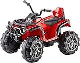 Jamara 460249 - Ride-on Quad Protector rot 12V - 2 Leistungsstarke 12V Antriebsmotoren und leistungsstarker 12V Akku für lange Fahrzeit, 2-Gang Turboschalter, Ultra-Gripp Gummiringe an Antriebsrädern