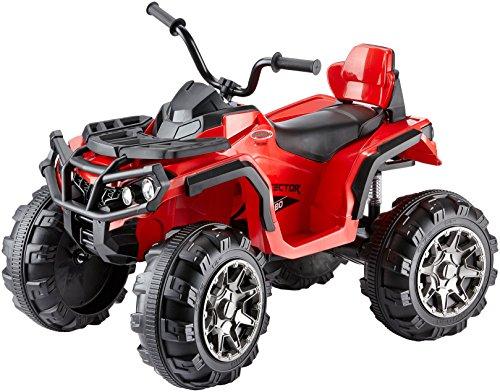 Jamara 460249 - Ride-on Quad Protector rood 12V - 2 krachtige 12V aandrijfmotoren en krachtige 12V accu voor lange rittijd, 2-speed turboschakelaar, ultra grip rubberen ringen op aandrijfwielen