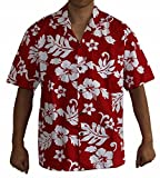 Made in Hawaii! Men's Hibiscus Flower Classic Hawaiian Shirt Collection (3XL, RED/White)