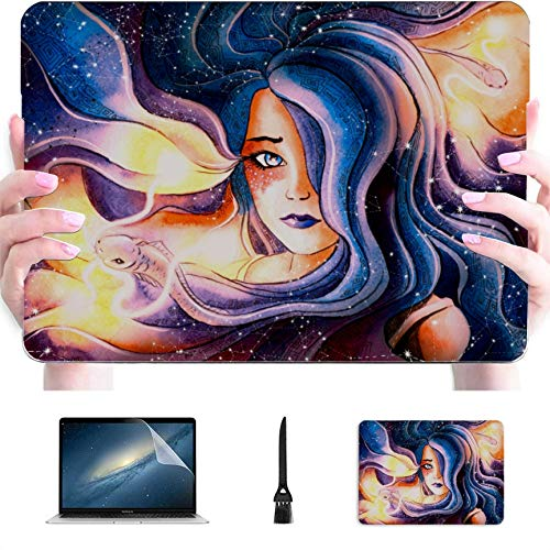 MacBook Pro Computer Case Zodiac Zodiac Sign Pisces Plastic Hard Shell Compatible Mac MacBook Pro 2016 Case Protection Accessories for MacBook with Mouse Pad