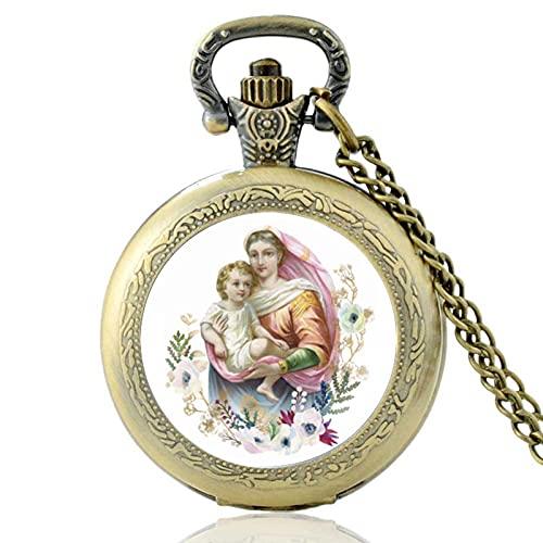 Revilium Reloj De Bolsillo De Cuarzo Vintage con Diseño De Virgen María Santísima Madre De Color Bronce para Hombres Y Mujeres, Collar con Colgante, Reloj De Horas 80Cm