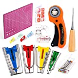 Bias Tape Maker Set, Sewing Fabric Bias Tape Maker Tool Kit 6MM 12MM 18MM 25MM with Quilti...