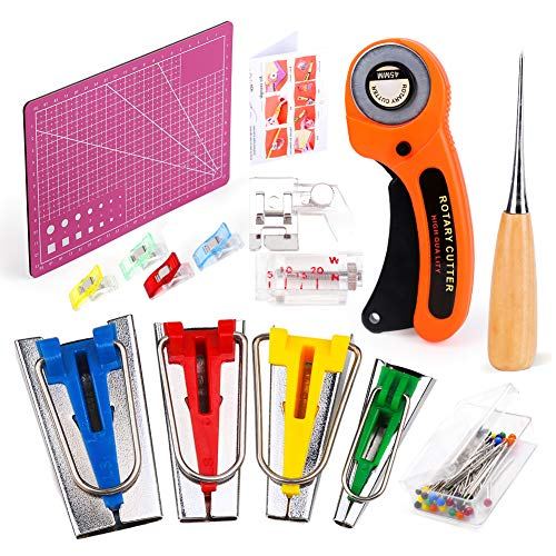 Bias Tape Maker Set, Sewing Fabric Bias Tape Maker Tool Kit 6MM 12MM 18MM 25MM with Quilting Clips, Fabric Cutter and A5 Cutting Mat