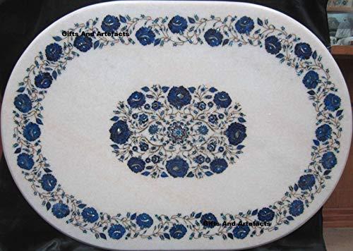 Geschenken En Artefacten Wit Ovaal Marmeren Patio Eettafel Top Inlay Werk met Lapis Lazuli Rose Bloem Steen Perfect Huis Meubels 30 x 42 Inches